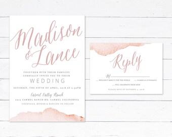 Blush Wedding Invitations, CUSTOMIZE COLORS, Watercolor Wedding Invitations