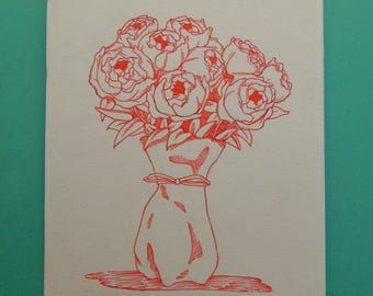 Peony Bouquet - Drawing, Flowers