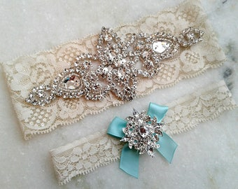 Aqua Wedding Garter, Bridal Garter Set, Something Blue Garter, Aqua Garter, Crystal Rhinestone Keepsake Toss Garters, 35 Bow / 9 Lace Colors