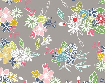 DAISY Main Gray c6280, DAISY DAYS, Riley Blake Designs, Grey Gray Floral, Shabby Chic Nursery, Baby Girl Quilt, Quilting, Fabric By the Yard
