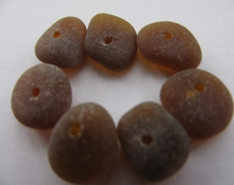 7 Brown Sea Glass Center Drilled  - Bulk Beach Glass - Genuine Vintage
