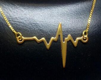 heartbeat necklace ekg necklace nurse necklace heartbeat jewelry ecg necklace heart necklace layering necklace heart beat necklace gold