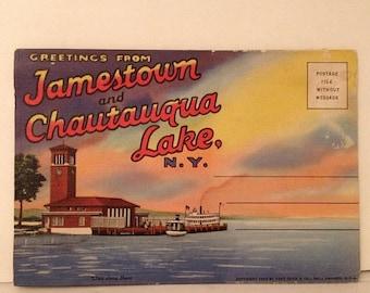 ON SALE Jamestown Chautauqua Lake New York NY 1940's 1950's Old Vintage Souvenir Postcard Booklet Unused Unmailed