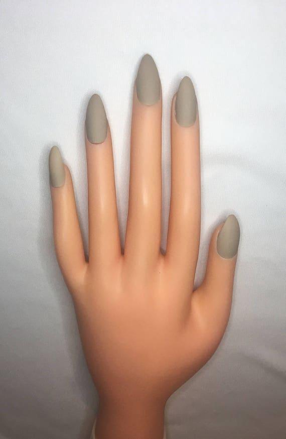 Pale Taupe Press On Nails l Nude Fake Nails l Natural False Nails l ...