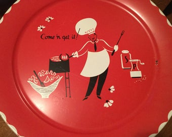 Big Metal BBQ Tray, Come 'N Get It!, 19 Inch Round Red 50s Serving Tray for Cook Outs