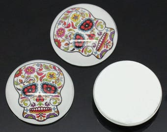 Floral skull pattern (x 2) glass cabochons