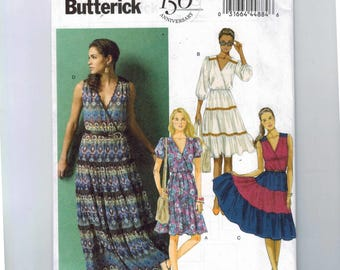 Misses Sewing Pattern Butterick B5878 5878 Misses Tiered Peasant Style Surplice Dress Size 6 8 10 12 14 16 18 20 22 UNCUT