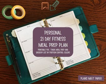 PRINTABLE Personal 21 Day Fitness Portion Control Meal Prep and Grocery List
