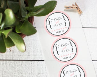 Wedding Favor Labels - Audrey Design - Round - Personalized Favor Labels | Thank You Favor Labels | Personalized Wedding Favors