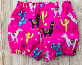Baby Bloomers, bloomer shorts, bubble shorts, baby girl bloomers, newborn shorts, llama bloomers, toddler shorts, newborn bloomers
