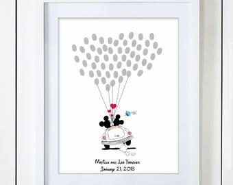 Mickey and Minnie Mouse Wedding Guest Book Alternative for Fingerprints