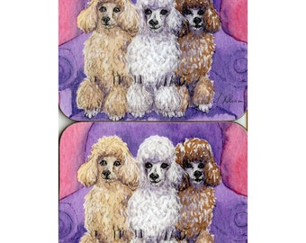 2 x coasters - Poodle - white chocolate apricot - three's a pack toy standard armchair cream pink from Susan Alison watercolor painting
