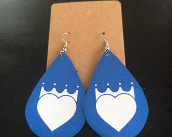 Kansas City Royals blue metallic leather earrings