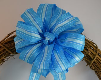 Blue Striped Bow, Blue Bow, Baby Shower Bow, Party Bow, Decorative Bow, Wreath Bow, Basket Bow