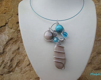 Turquoise necklace and taupe, aluminum wire and turquoise beads, wedding