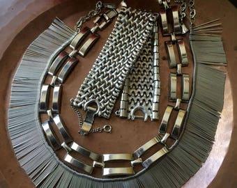 Vintage 1960's Silvertone Necklaces/Bracelet, Set of 3, 1960's Jewelry, 60's necklaces, Mod, Retro, Goth, Steampunk