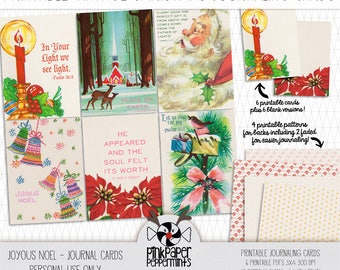 Printable Vintage Christmas Journaling Cards with Scripture for Pocket Scrapping - Daily December - Bible Journaling - Faith Art Journaling