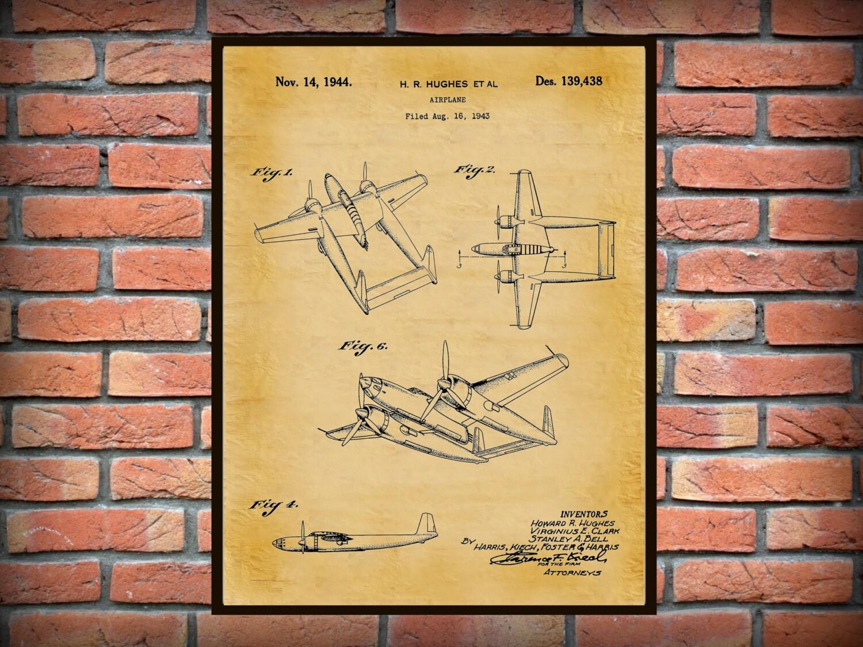 1944 Howard Hughes Airplane Patent Art Print Poster Wall