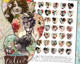 Beauty in Roses, Collage Sheets, Ladies, 25mm Heart, Printable Download, 1 Inch Heart, Heart Shape Images, Burlesque, Heart Cabochon