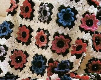 Instant Download Crochet Pattern Field of Flowers Afghan PDF