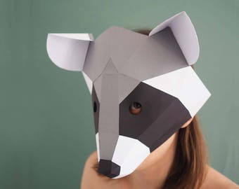 Raccoon papercraft mask, digital download woodland animals, low poly, masquerade mask, woodland party face mask, printables animal mask kids