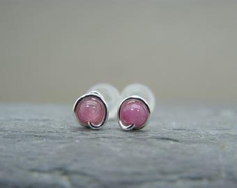 Bridesmaid gift ideas earrings ~ Earrings gift for best friend ~ Pink tourmaline stud earrings ~ Small stud earrings ~ Tiny stud earrings ~