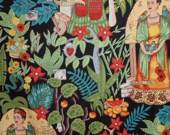 remnant--Frida's Garden Print on Black Pure Cotton Fabric--17 inches