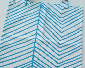 Blue Zebra Stripe Library Bag, Book Bag, Tote Bag, Fabric Bag, Shopping Bag, Blue and White, Shopping Bag, School,