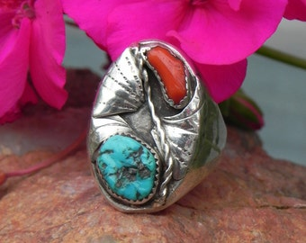 High Quality Turquoise Coral Men's Sterling Ring