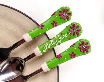 Kids Floral Flatware Gift for Baby Girl Green Pink Birthday Spoon Fork Knife Toddler Personalized New Baby Gift Polymer clay Cutlery