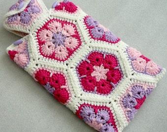 Crochet Hot Water Bottle Cozy, African Flower Hot Water Bottle Cover