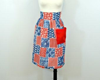 Vintage Patriotic Apron, Patchwork Red White Blue Kitchen Half Apron, Handmade Vintage Gingham Calico Print Patchwork Apron