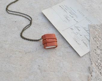 Orange Leather Book Necklace