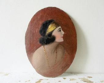Antique french painting on wooden panel, 1920s, Vintage, Woman, Art Deco style, France, Peinture femme profil