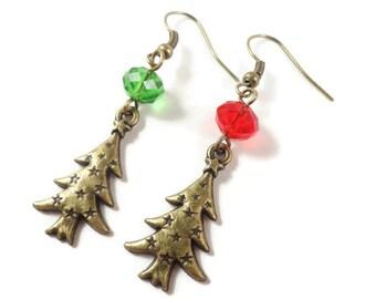 Christmas Tree Earrings, Red and Green Earrings, Bronze Beaded Charm Earrings, Christmas Earrings, Holiday Jewelry, Crystal Bead Earrings
