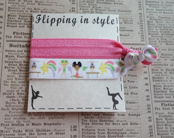 GYMNASTICS Elastic Hair Ties, girls hair ties, gymnastics party favors, hair accessories