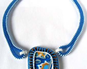 Bead Embroidery Statement Necklace, Beaded Necklace, Bead Embroidery Polymer Clay Pendant Necklace
