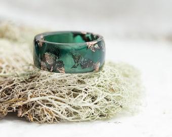 Big Size Men Ring Dark Jade Green Resin Ring Gold Flakes huge size 16 size 15 ring size 13 Smooth Ring OOAK dark men jewelry