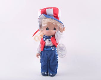 Precious Moments, Vintage Doll, Collectible, Patriotic, Red White and Blue, Fourth of July, 4th of July, USA ~ The Pink Room ~ 170126