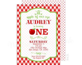 Apple of My Eye Birthday Party Invitation 5x7 Customized | Printable or Professionally Printed | 1st Birthday | Fall Theme