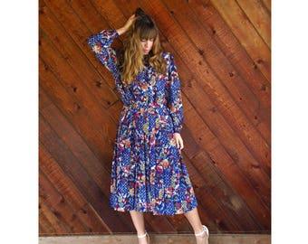 Floral Printed l/s Midi Secretary Dress - Vintage 90s - M/L