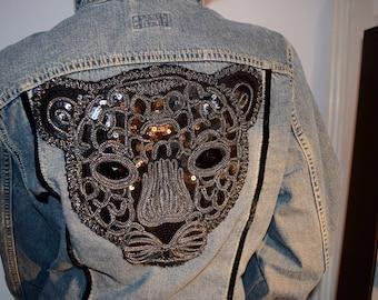 Jewelled leopard jean jacket