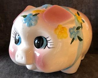 Huge pink vintage coin piggy bank
