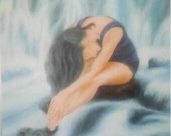 Waterfalls, Deep Blues, Large Oil Painting, Original Art