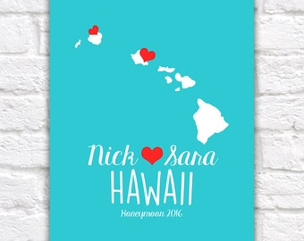 Hawaii Map Custom Print for Newlyweds, Hawaii Canvas, Kauai, Oahu, Maui, Honeymoon Locations, Love, Hearts, Wedding, Gift for Couple