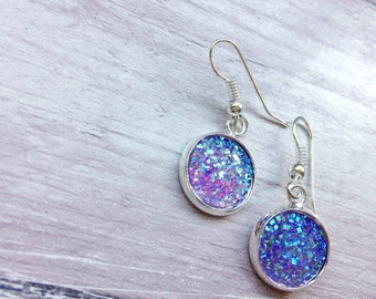 Earrings, sparkling iridescent glitter, choose silver or plated, small gift for friend birthday, bridesmaids jewellery for beach wedding,
