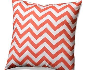 Coral Chevron Throw Pillow