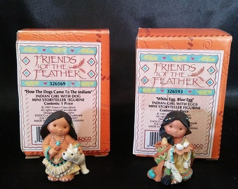 """Two Vintage Enesco Friends of the Feather """"White Egg Blue Egg"""" and Indian Girl With Dog"""