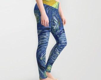 Van Gogh Starry Night Leggings for Women XS S M L Xl Yoga Workout Printed Leggings