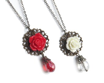 Red or Cream Rose Antique Brass Necklace